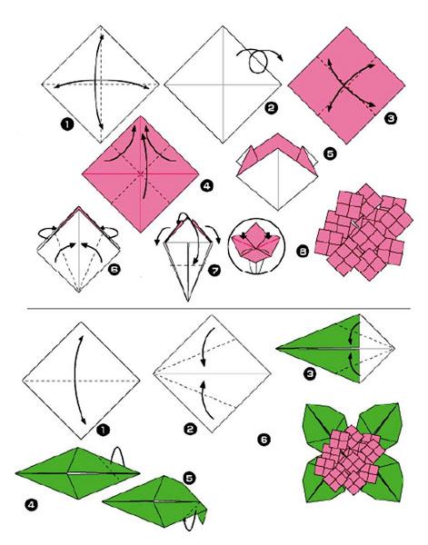 Cara membuat Origami Bunga Dan Daun